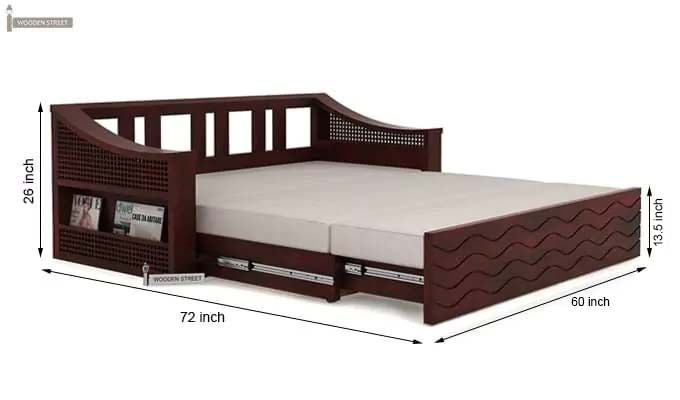 Thar Sofa Cum Bed (Queen Size, Mahogany Finish)-10