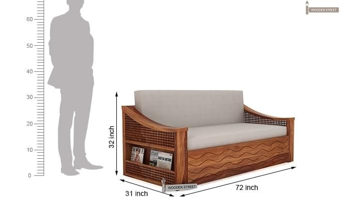 Thar Sofa Cum Bed (King Size, Teak Finish)-9