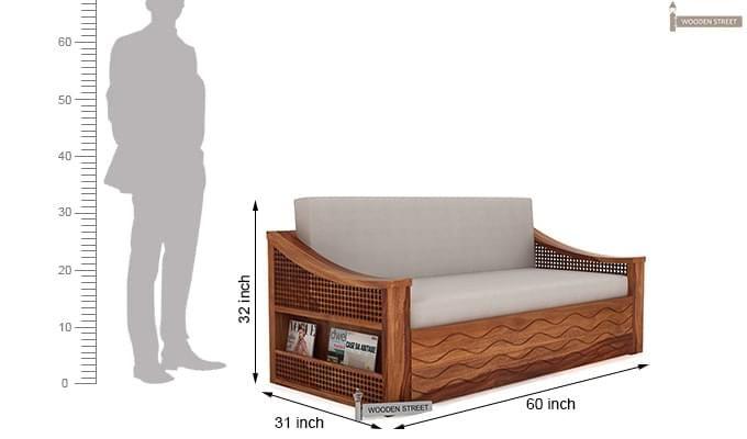 Thar Sofa Cum Bed (Queen Size, Teak Finish)-9