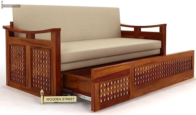 Treviso Sofa Cum Bed (Queen Size, Honey Finish)-3