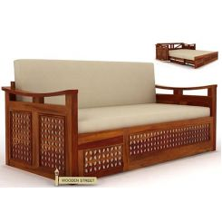 Treviso Sofa Cum Bed (Queen Size, Honey Finish)