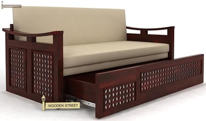 Treviso Sofa Cum Bed (King Size, Mahogany Finish)-3