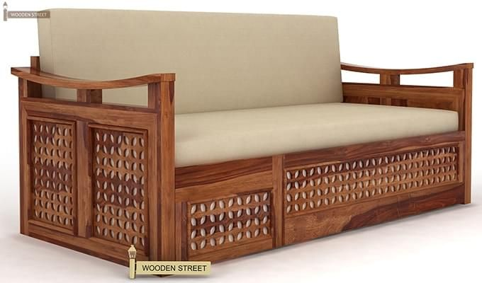 Treviso Sofa Cum Bed (King Size, Teak Finish)-1