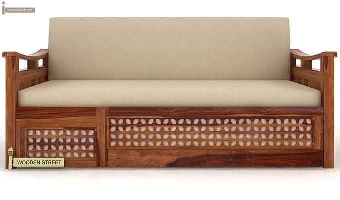 Treviso Sofa Cum Bed (King Size, Teak Finish)-2