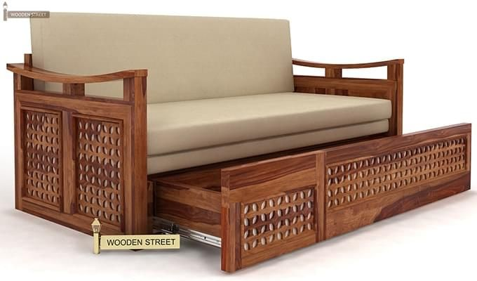 Treviso Sofa Cum Bed (Queen Size, Teak Finish)-3
