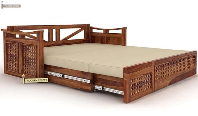Treviso Sofa Cum Bed (Queen Size, Teak Finish)-4