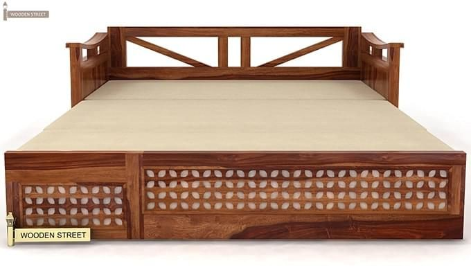 Treviso Sofa Cum Bed (Queen Size, Teak Finish)-5