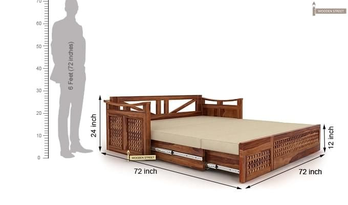 Treviso Sofa Cum Bed (King Size, Teak Finish)-8