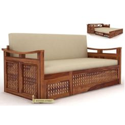 Treviso Sofa Cum Bed (King Size, Teak Finish)