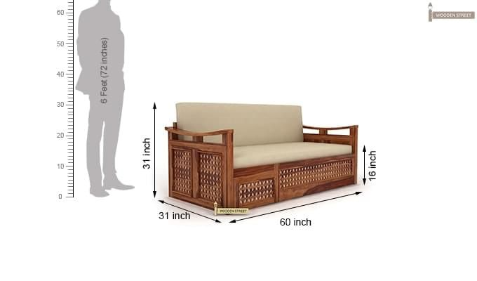 Treviso Sofa Cum Bed (Queen Size, Teak Finish)-7
