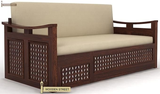 Treviso Sofa Cum Bed (King Size, Walnut Finish)-3