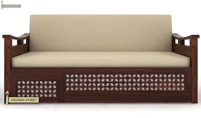 Treviso Sofa Cum Bed (Queen Size, Walnut Finish)-4