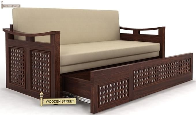 Treviso Sofa Cum Bed (King Size, Walnut Finish)-5