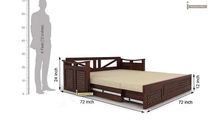 Treviso Sofa Cum Bed (King Size, Walnut Finish)-10