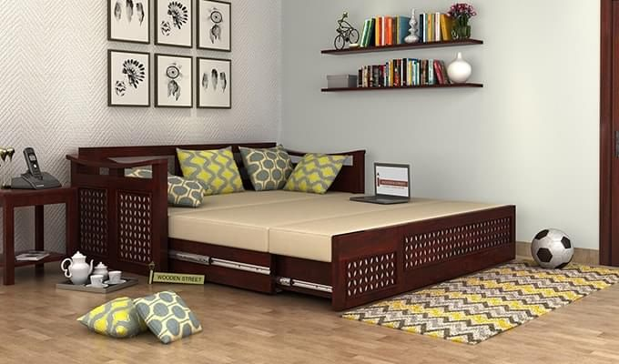 Treviso Sofa Cum Bed (King Size, Walnut Finish)-2