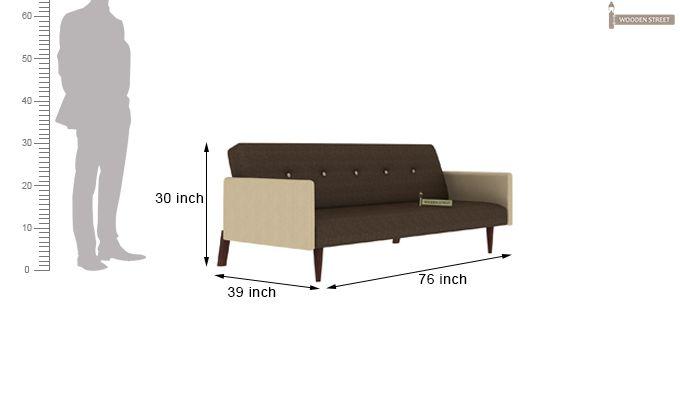 Tyler Fabric Sofa Cum Bed (Brown)-7