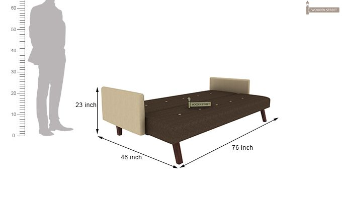 Tyler Fabric Sofa Cum Bed (Brown)-8