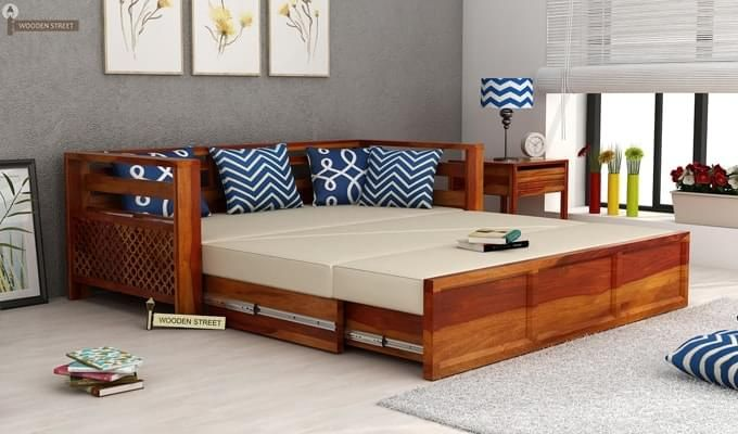 Buy Vigo Sofa Cum Bed King Size Honey Finish Online In