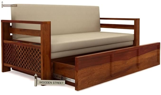 Vigo Sofa Cum Bed (Queen Size, Honey Finish)-5