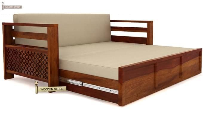 Vigo Sofa Cum Bed (Queen Size, Honey Finish)-6