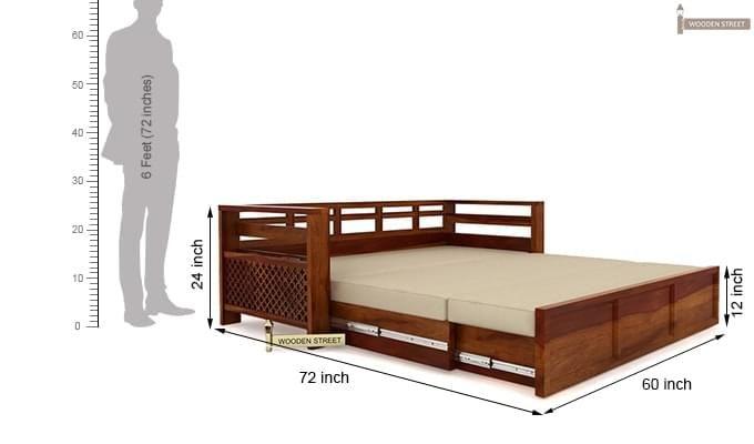 Vigo Sofa Cum Bed (Queen Size, Honey Finish)-7
