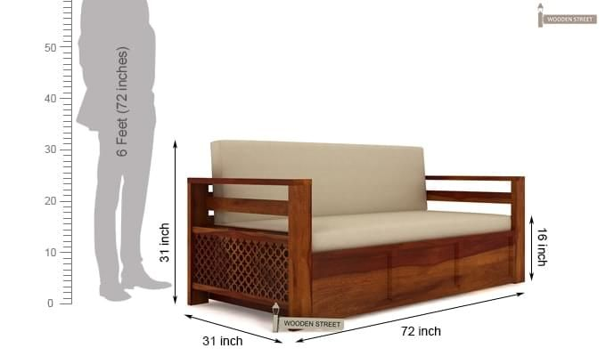 Vigo Sofa Cum Bed (King Size, Honey Finish)-7
