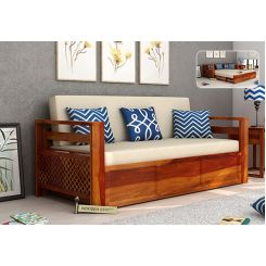 Vigo Sofa Cum Bed (Queen Size, Honey Finish)