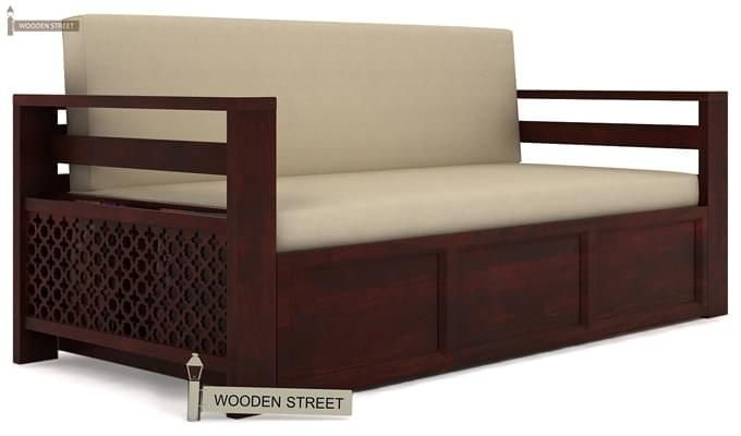 Vigo Sofa Cum Bed (Queen Size, Mahogany Finish)-1