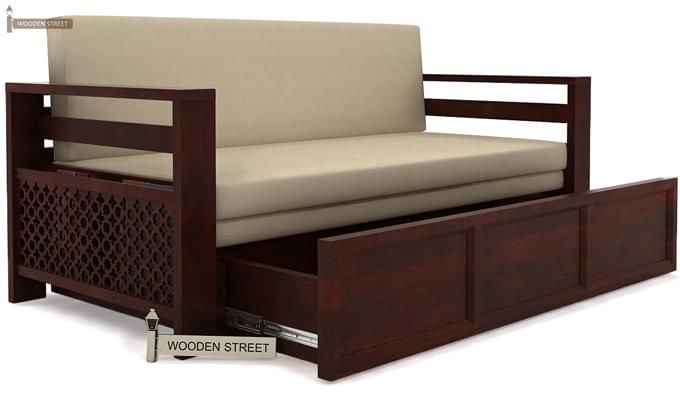 Vigo Sofa Cum Bed (Queen Size, Mahogany Finish)-3