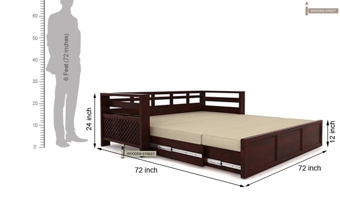 Vigo Sofa Cum Bed (King Size, Mahogany Finish)-8