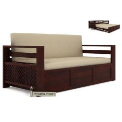 Vigo Sofa Cum Bed (King Size, Mahogany Finish)