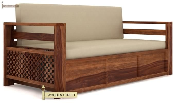 Vigo Sofa Cum Bed (King Size, Teak Finish)-1