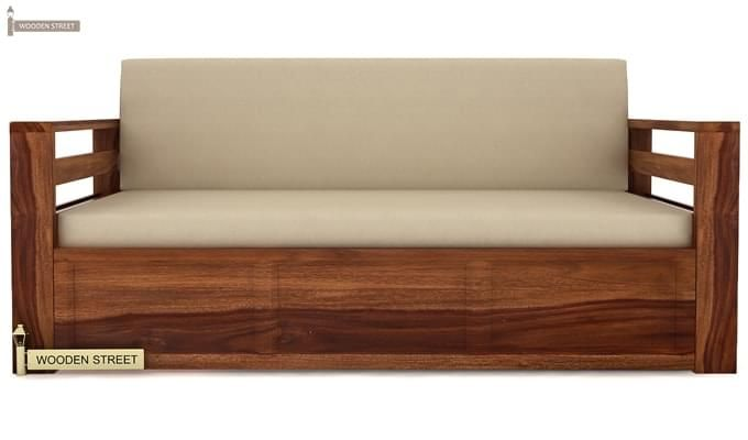 Vigo Sofa Cum Bed (King Size, Teak Finish)-2