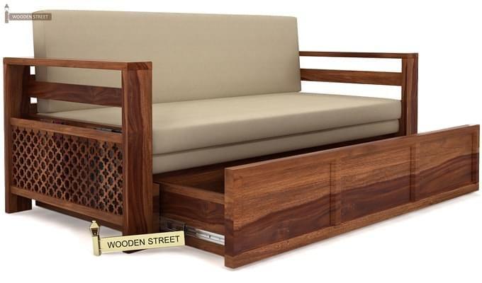 Vigo Sofa Cum Bed (Queen Size, Teak Finish)-3