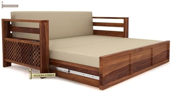 Vigo Sofa Cum Bed (King Size, Teak Finish)-4