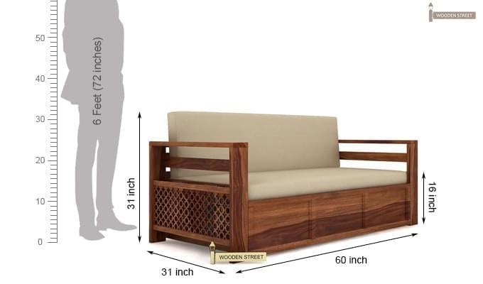 Vigo Sofa Cum Bed (Queen Size, Teak Finish)-7