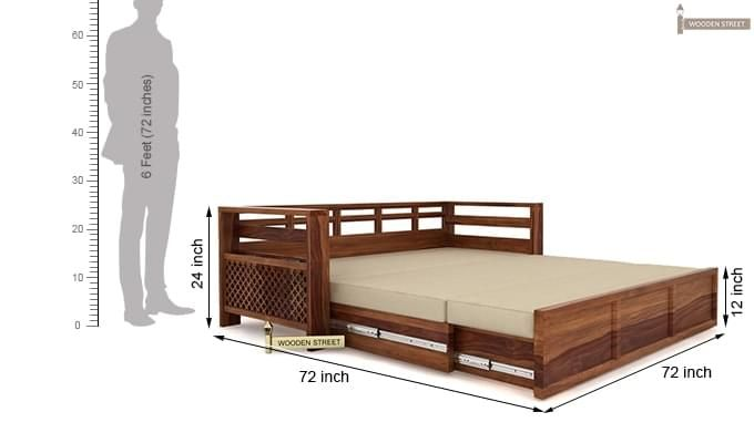 Vigo Sofa Cum Bed (King Size, Teak Finish)-8
