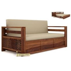 Vigo Sofa Cum Bed (King Size, Teak Finish)