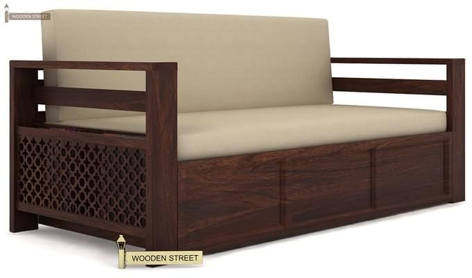Vigo Sofa Cum Bed (Queen Size, Walnut Finish)-1