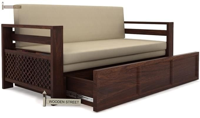 Vigo Sofa Cum Bed (Queen Size, Walnut Finish)-3