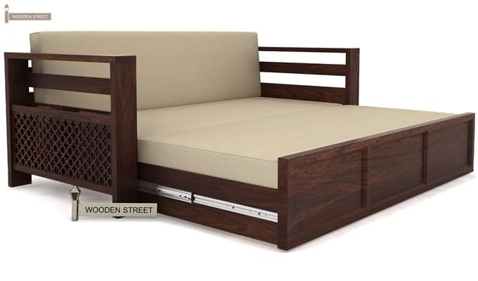 Vigo Sofa Cum Bed (Queen Size, Walnut Finish)-4