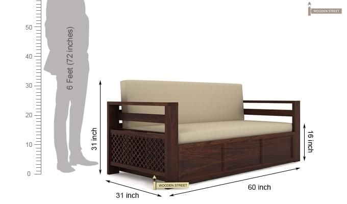 Vigo Sofa Cum Bed (Queen Size, Walnut Finish)-8