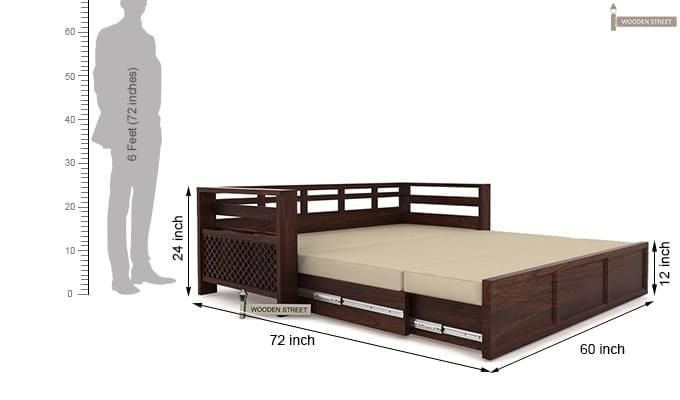 Vigo Sofa Cum Bed (Queen Size, Walnut Finish)-7
