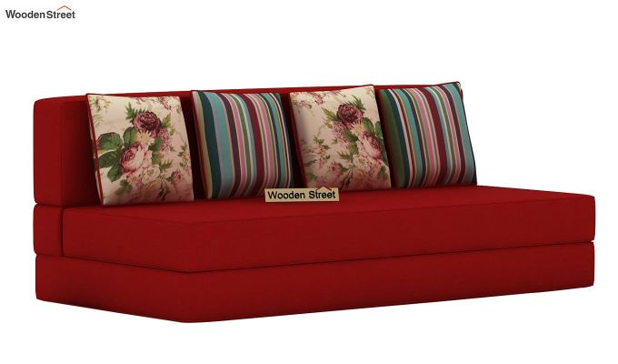 Voltz Fabric Sofa Cum Bed (Dusky Rose)-3