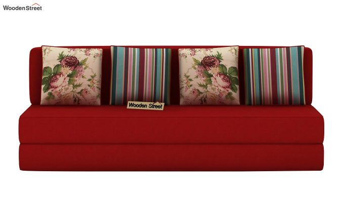 Voltz Fabric Sofa Cum Bed (Dusky Rose)-4
