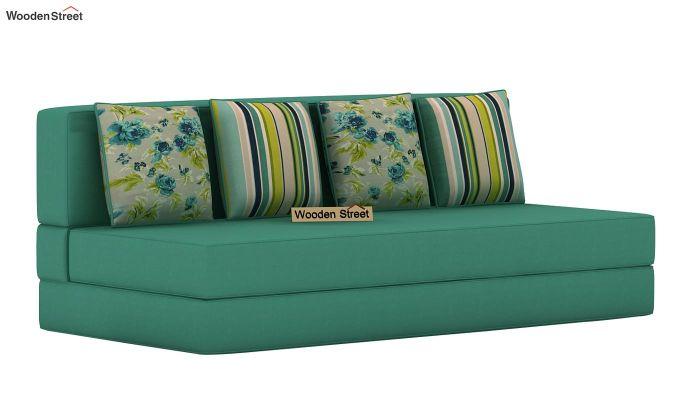 Voltz Fabric Sofa Cum Bed (Electric Turquoise)-3