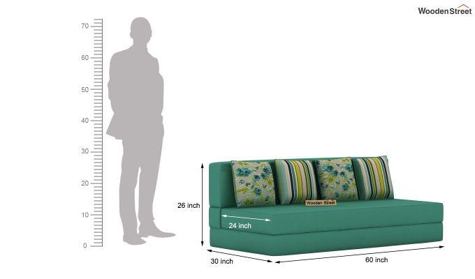 Voltz Fabric Sofa Cum Bed (Electric Turquoise)-8