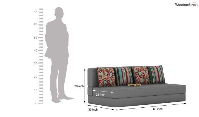 Voltz Fabric Sofa Cum Bed (Warm Grey)-8