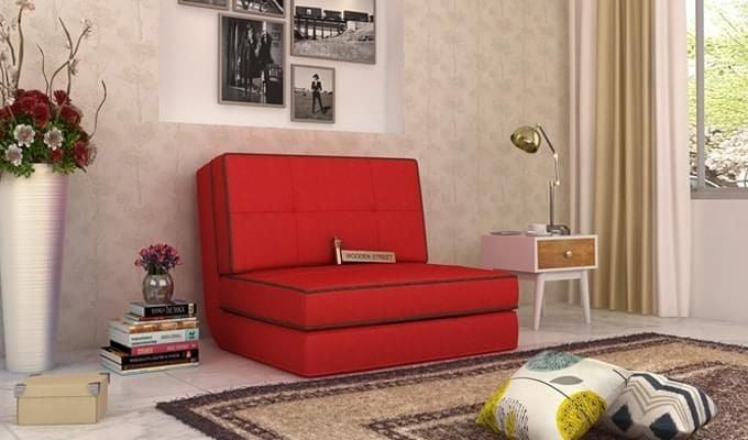 Winsley Fabric Sofa Cum Bed (Dusky Rose)-2