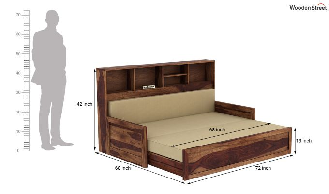 Zibah Sofa Cum Couch With Storage (King Size, Teak Finish)-9